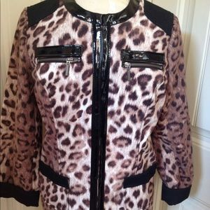 Chico's brushed printed leopard jacket